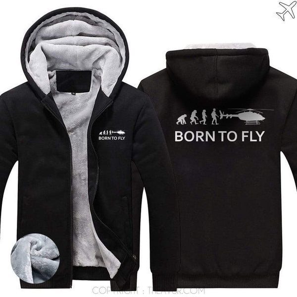 AIRZT sweatshirt Black / S Born To Fly Zipper Sweater