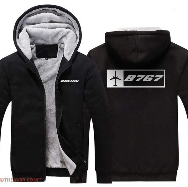 AIRZT sweatshirt Black / XS BOEING 767 DESIGNED ZIPPER SWEATER
