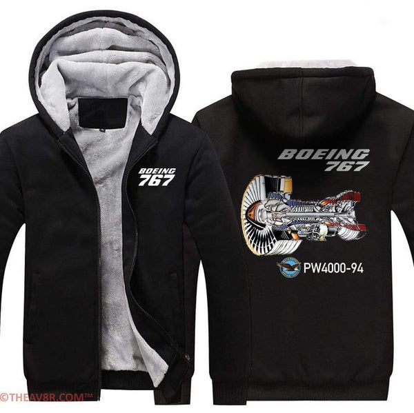AIRZT sweatshirt Black / XS BOEING 767 PW4000-94 DESIGNED ZIPPER SWEATER
