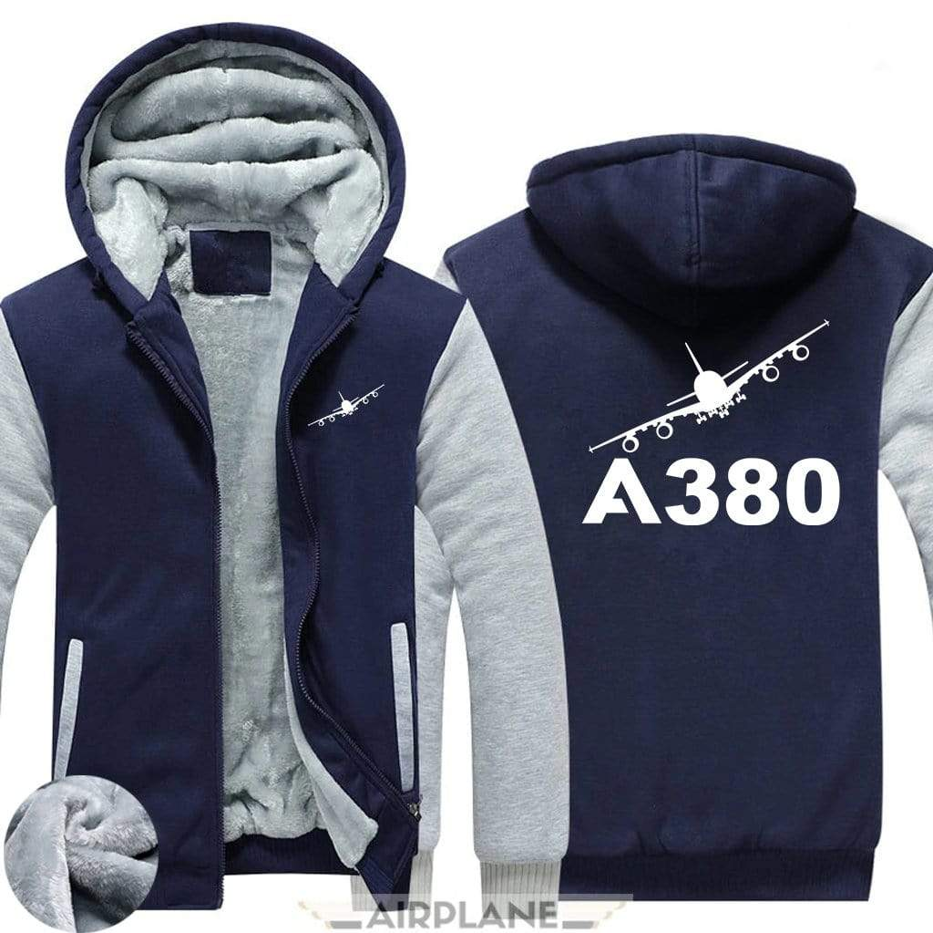 AIRZT sweatshirt Blue / S Airbus A380 Zipper Sweater