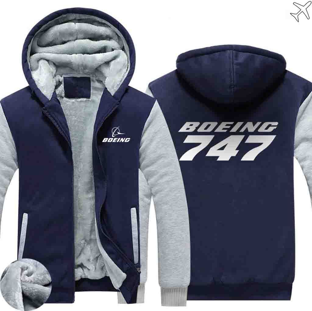 AIRZT sweatshirt Blue / S Boeing  747 Zipper Sweater