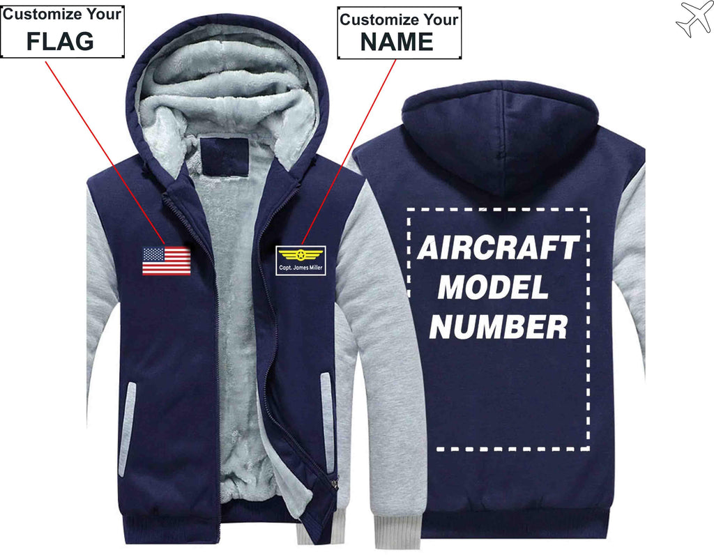 AIRZT sweatshirt Blue / S Custom The Flag & Name with Aircraft Model Number Zipper Sweater