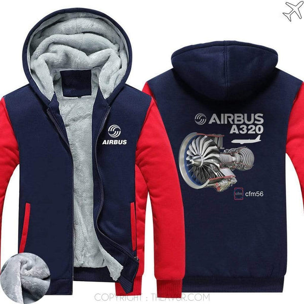 AIRZT sweatshirt Red / S Airbus A350 CFM 56 Zipper Sweater