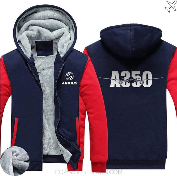 AIRZT sweatshirt Red / S Airbus A350 Zipper Sweater