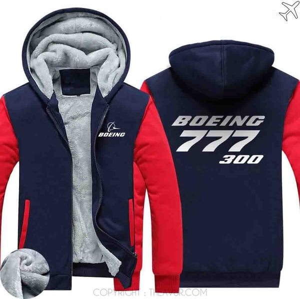AIRZT sweatshirt Red / S Boeing  777-300 Zipper Sweater