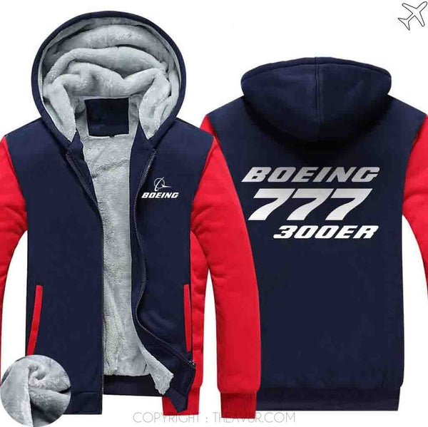 AIRZT sweatshirt Red / S Boeing 777 300ER Zipper Sweater