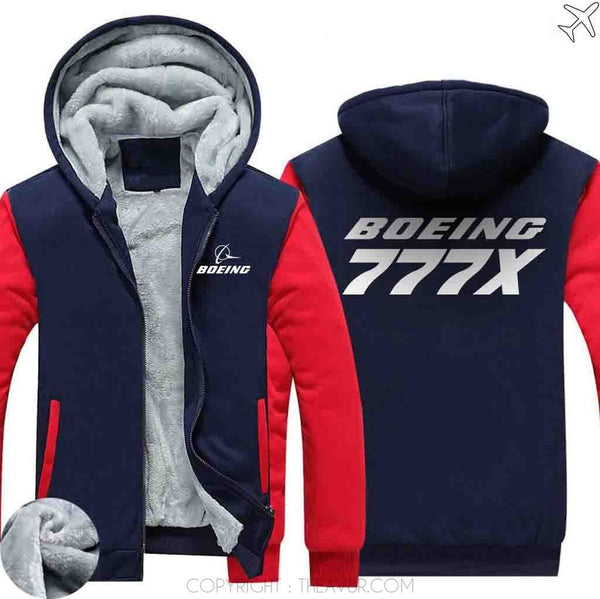 AIRZT sweatshirt Red / S Boeing   777X Zipper Sweater