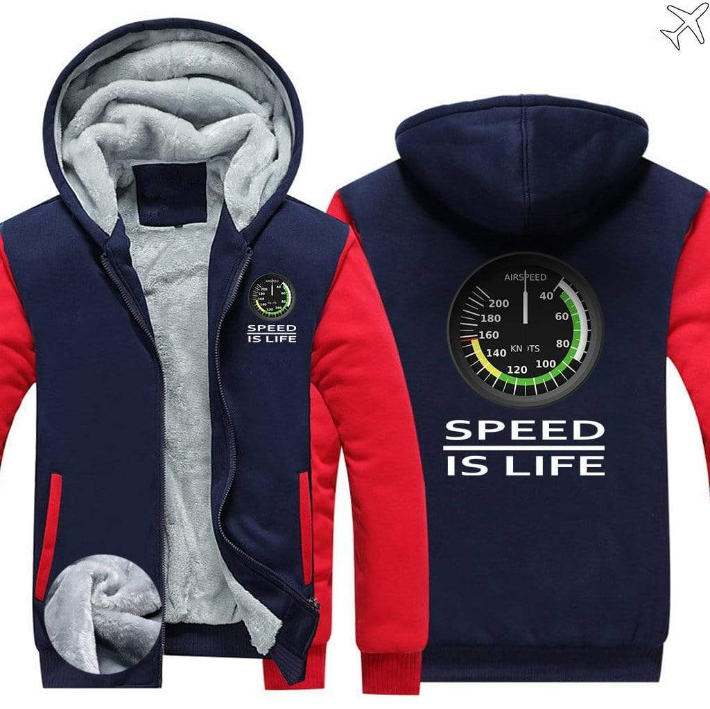 AIRZT sweatshirt Red / S Speed Is Life Zipper Sweater