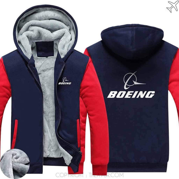 AIRZT sweatshirt Red / S The Boeing Logo Hoodies Zipper Sweater