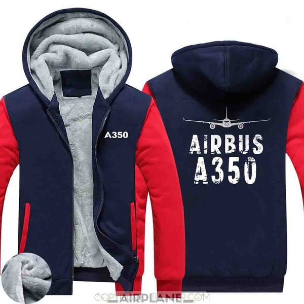 AIRZT sweatshirt Red / XS Airbus A350 Zipper Sweater