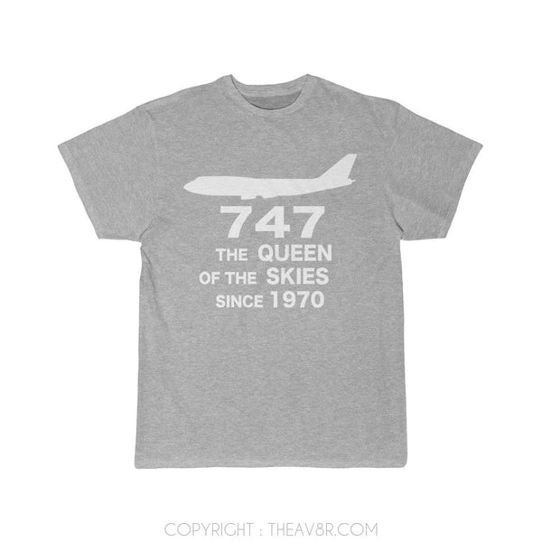 Airplane T-Shirt Athletic Heather / S 747 THE QUEEN OF THE SKIES SINCE 1970 T-shirts
