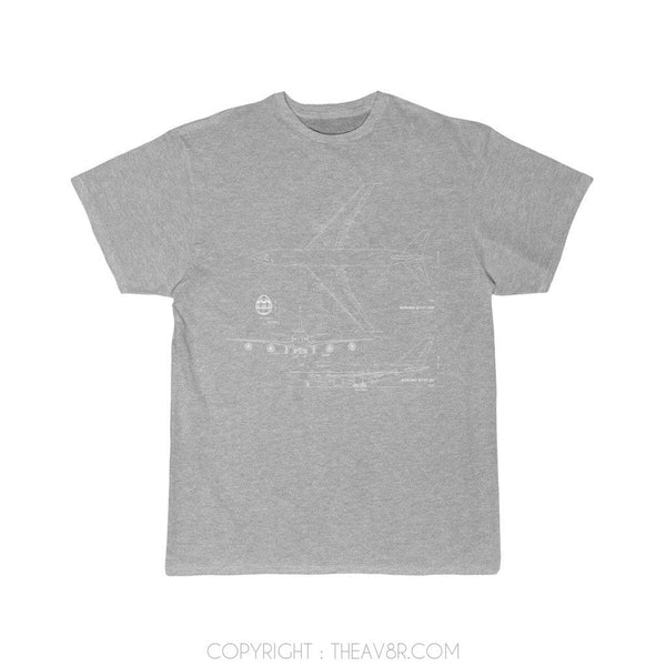 Printify T-Shirt Athletic Heather / S Diagram of Boeing 747