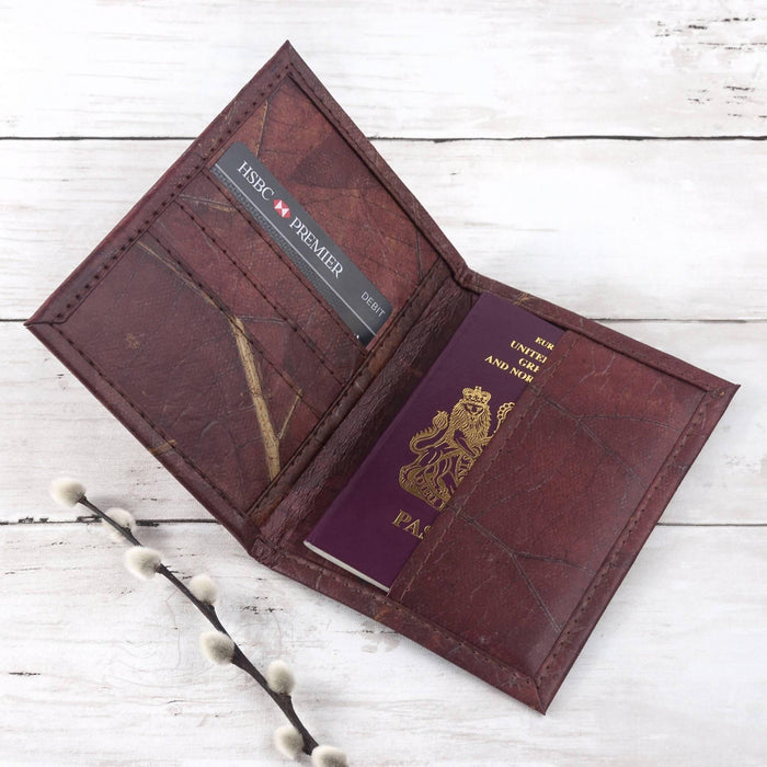 Passport Cover in Leaf Leather - Chestnut Brown - Just Think Eco