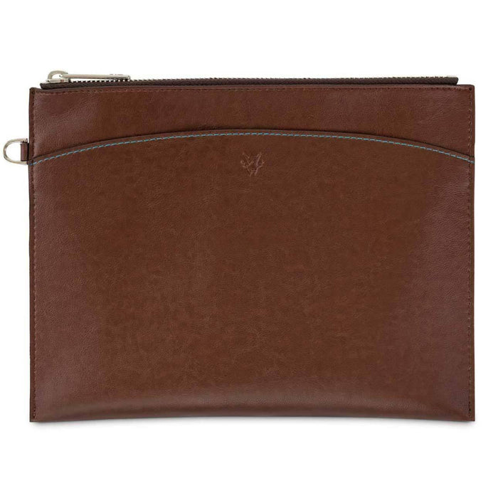 Luxury Vegan Leather Travel Pouch & E-Reader Case In Oakbark + Cuff Handle | Watson & Wolfe