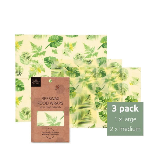 Beeswax Food Wraps - Botanical Pattern - 3 Pack (2x Medium, 1x Large) | Wild & Stone - Just Think Eco