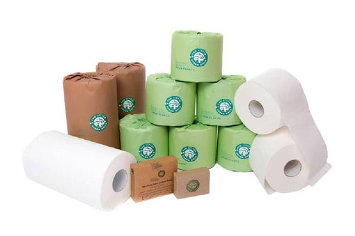 Eco-Friendly Family Bamboo Pack - Extra Long Toilet Rolls, Strong Absorbent Kitchen Towels, Twin Headed Cotton Buds and Charcoal Soap - Just Think Eco