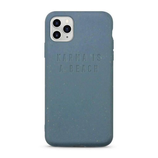 Compostable iPhone Case, Blue, Karma Is a Beach| Listening Store - Just Think Eco