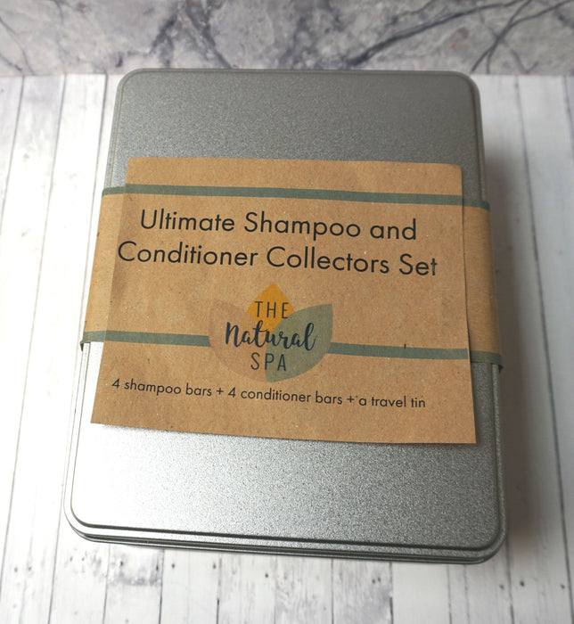 Shampoo and Conditioner Collectors set - 4 x Shampoo - 4 x Conditioner - Travel tin