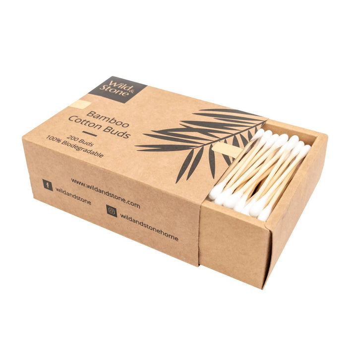 Bamboo Cotton Buds - Biodegradable & Plastic Free - 200 Pack | Wild & Stone - Just Think Eco