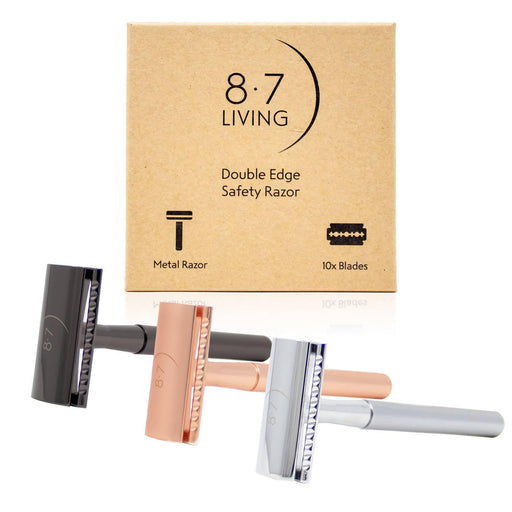 Double Edge Safety Razor Gift Set with 10 Blades | 8.7 Living - Just Think Eco