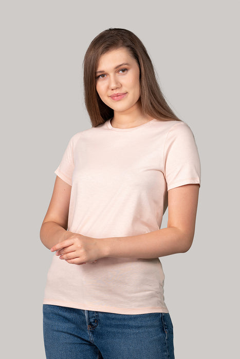 Organic and Sustainable Light Salmon - Bluverd female Crew Neck T shirt