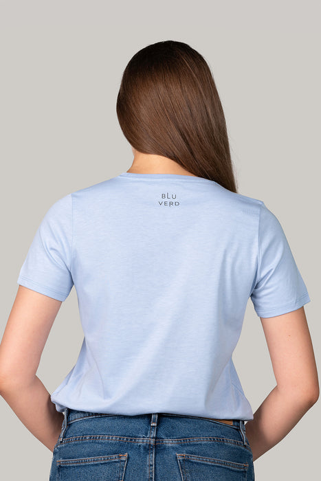 Organic and Sustainable Sky Blue - Bluverd female Crew Neck T shirt