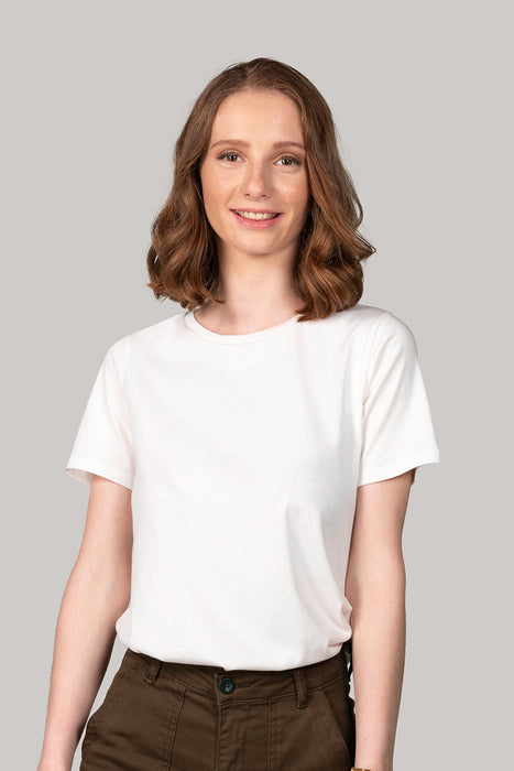 Organic and Sustainable Off White - Bluverd female Crew Neck T shirt