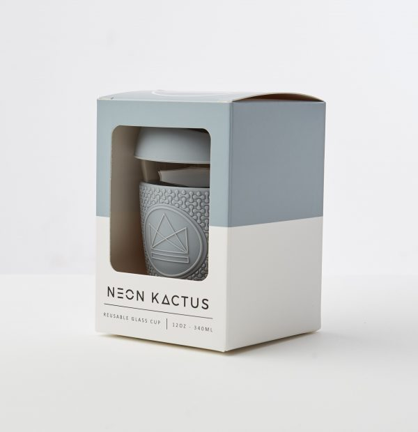 Neon Kactus Grey Reusable Glass Coffee Cup 12oz
