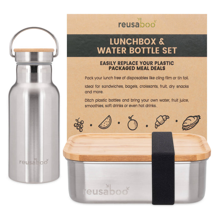 Stainless Steel and Bamboo Lunch Box and Water Bottle Set