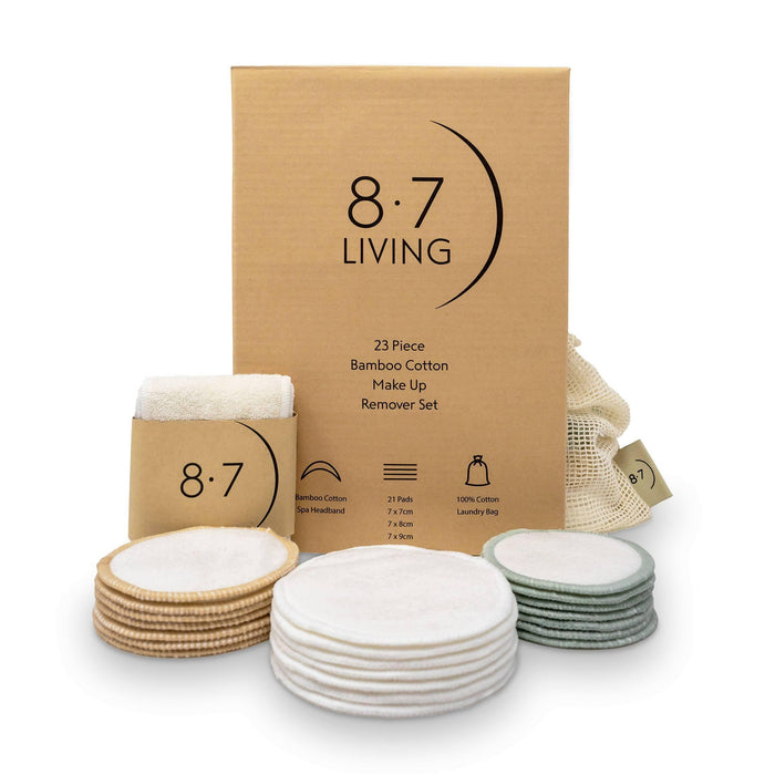 23pc Bamboo Makeup Remover Pads Set with Headband | 8.7 Living - Just Think Eco