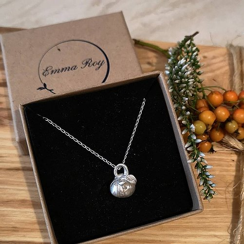 Jewellery By Emma Roy, Little pumpkin Necklace, Pure Silver Necklace, Sustainable Jewellery
