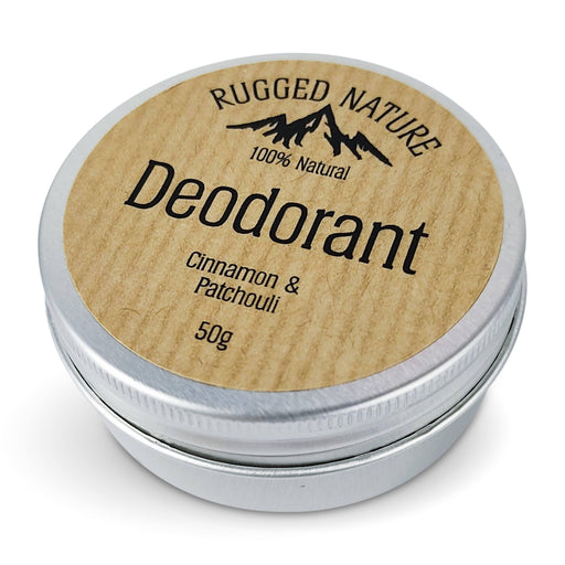 Rugged Nature 100% Natural Deodorant, Cinnamon and Patchouli - 50g - Just Think Eco