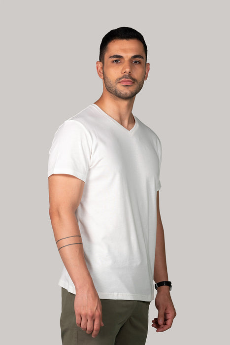 Organic BluVerd Male V Neck T shirt Off White