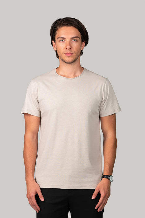 Organic and Sustainable Olive White - Bluverd Male Crew Neck T shirt