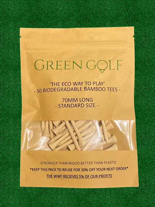 Biodegradable Bamboo golf Tees, Sustainable golf products - 70mm (2.75 inch)