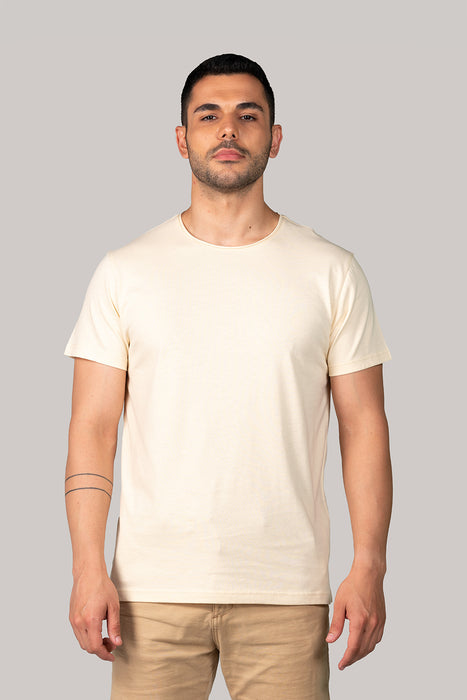 Organic and Sustainable Pastel Yellow - Bluverd Crew Neck T shirt