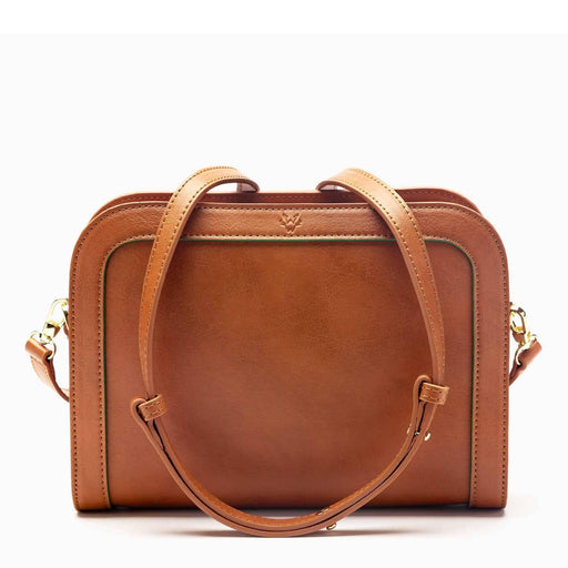 The Wilton Crossbody Vegan Leather Bag In Cognac & Emerald | Watson & Wolfe - Just Think Eco