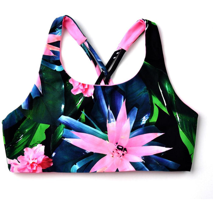 Tropical Recycled Plastic Plastic Sports Bra