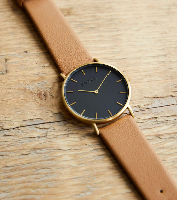 Gold & Black With Tan | CLASSIC | Vegan watch by Votch