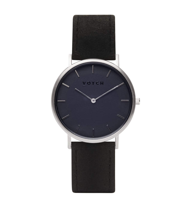 Silver & Piñatex with Black | CLASSIC | Vegan watch by Votch
