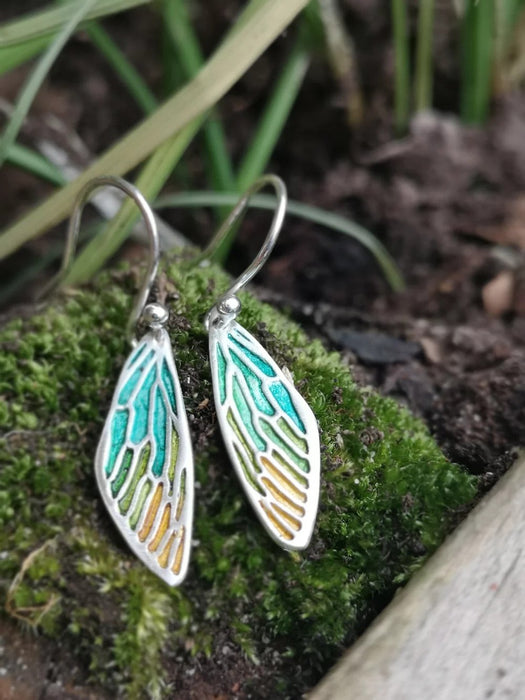 Jewellery By Emma Roy, Spring Fairy Wings, Silver clay Earrings