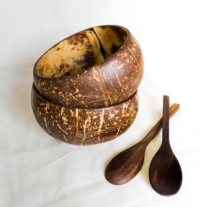 Repurposed Coconut Bowl and Spoon Set