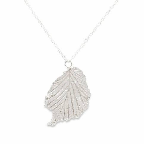 Hazel Leaf Pendant Recycled 925 Sterling Eco-Silver