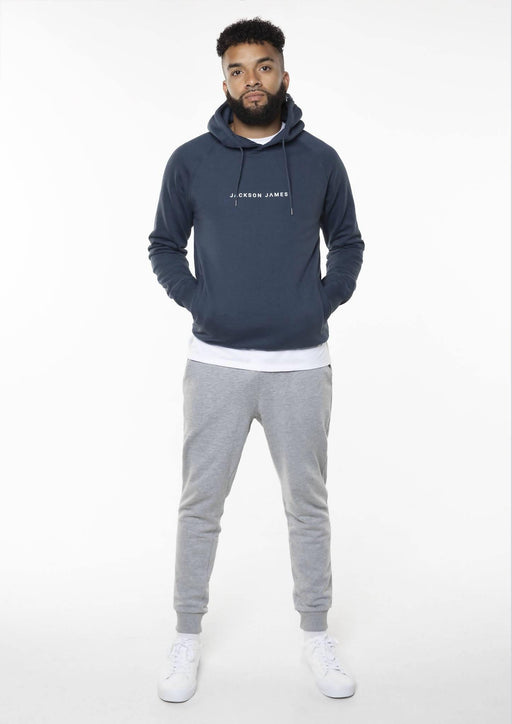 Men's Core Hoodie - Blue/White Logo | Jackson James Clothing - Just Think Eco