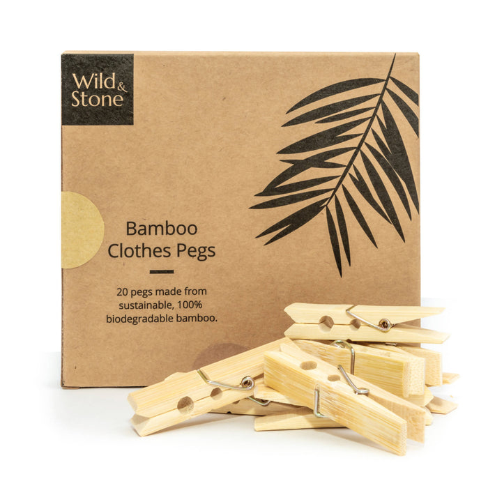 Bamboo Laundry Pegs - Biodegradable & Plastic Free Laundry Pegs - 20 Pack