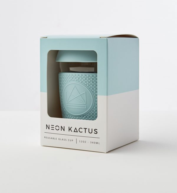 Neon Kactus Baby Blue Reusable Glass Coffee Cup 12oz