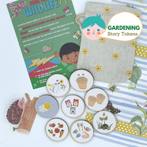 Gardening Story Tokens Gift, Wooden Storytelling Circles, Garden Nature Eco Toy for Kids, Speech Prompts Story Stones Cubes Alternative - Just Think Eco