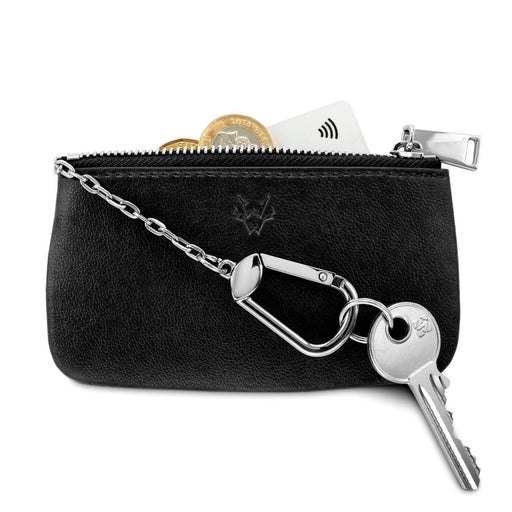 Zipped Card, Coin & Key Case Vegan Leather In Black | Watson & Wolfe - Just Think Eco