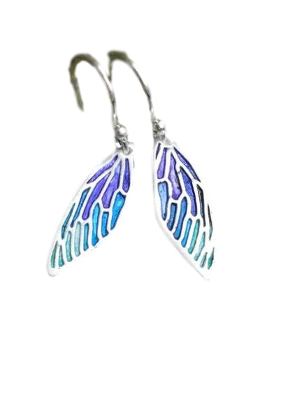 Jewellery By Emma Roy, Blue Fairy Wing Earrings, Silver clay Earrings, Sustainable Jewellery