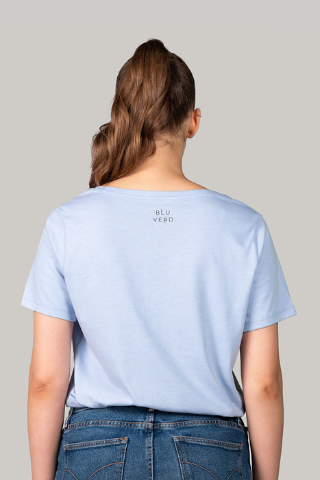 Organic and Sustainable Sky Blue  - Bluverd female Oversized V Neck T shirt
